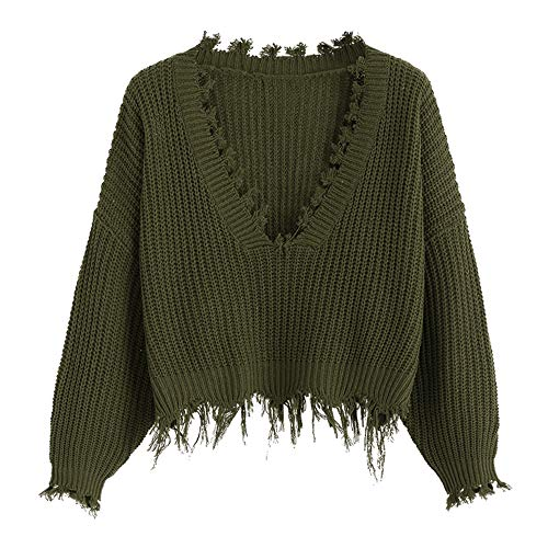 (ZAFUL Women's Loose Long Sleeve V-Neck Ripped Pullover Knit Sweater Crop Top (Army Green) )