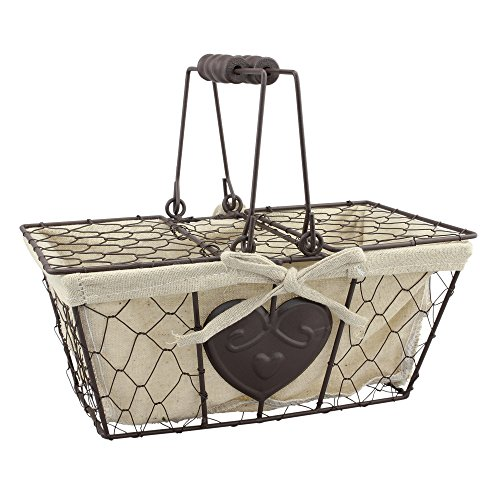 Stonebriar Farmhouse Metal Basket with Heart Details and Lid (Cute Baskets For Gifts)