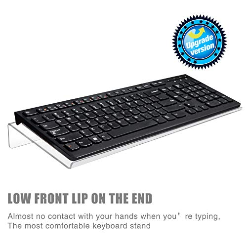 Nat-Hom Computer Keyboard Stand-Clear Acrylic Keyboard Tray,Ticker Acrylic Keyboard Riser(Holder) for Easy Ergonomic Typing and Working at Home and - Acrylic Keyboard Clear