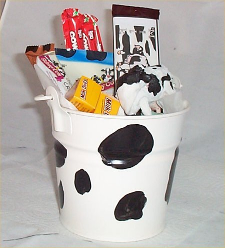 Cow Gift Basket Tin Bucket Cow Tails Candy Chocolate Figurine