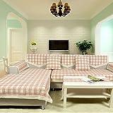 WWQY Country Plaid Fabric Sofa Towel Four Seasons Cotton/Linen Sofa Cover , 90180cm