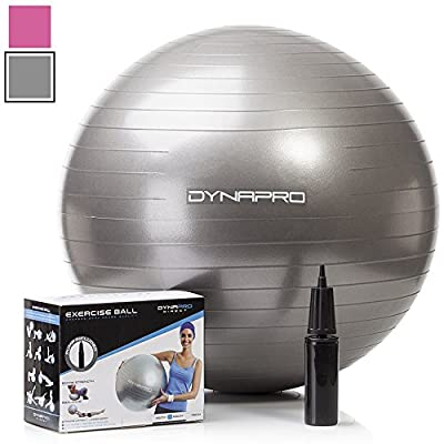 Exercise Ball with Pump- Gym Quality, 2000lb Anti-Burst, Anti-Slip Fitness Ball by DYNAPRO®. More colors and sizes available aka Yoga Ball, Swiss BalL