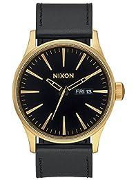 Nixon Men's Sentry Leather A105513 Black Leather Quartz Watch