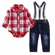 Baby Boys 4 Pieces Clothes Set Bowtie Plaid Shirt Jeans Strap 2 Colors (9M, Red)
