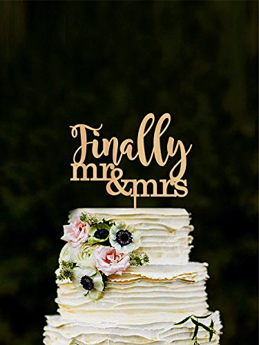 Amazon.com: Finally Wedding Cake Topper Mr Mrs Cake Topper ...