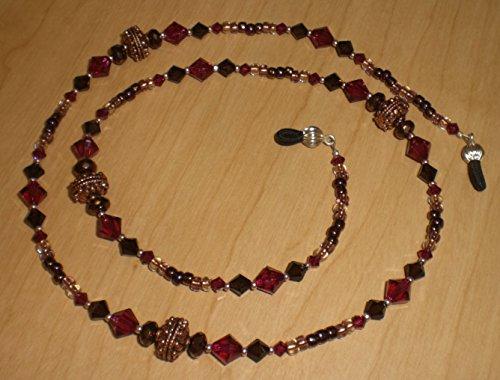 Copper Bali Ruby & Mocca Austrian Crystal Eyeglass Chain Holder