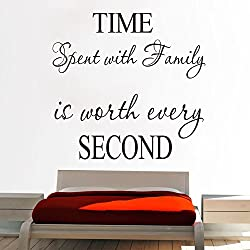 Time Spent with Family is Worth Every Second Wall Stickers Art Character Hot Quote Words Letters Wall Decals (Black 1)