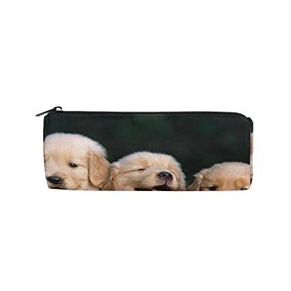 11c700914e361 Image Unavailable. Image not available for. Color  Pencil Case Golden Retrievers  Fun Animals School Pen Pouch Office Zippered Pencil Cases Holder Women ...