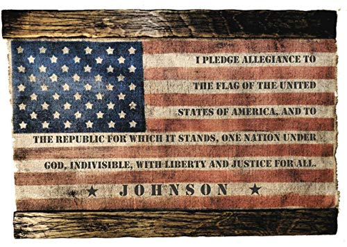 (American Flag With Family Name and Oath, Personalized Artwork made of worn out burlap and wood | Perfect Army Family Gift | Rustic wall decor, Handmade)