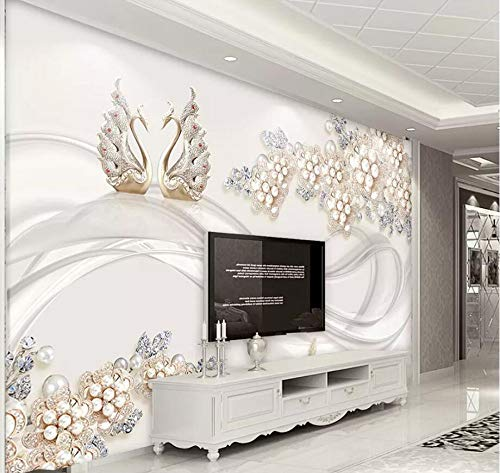 Wall Mural 3D Dynamic Diamond Pearl Flower Swan Relief Modern Custom Photo Wallpaper Murals Wall Decor