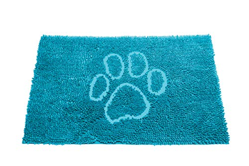 Dog Gone Smart Pet Products Dirty Dog Doormat W/Light Aqua, 23x16 Small, Paw Embroidery