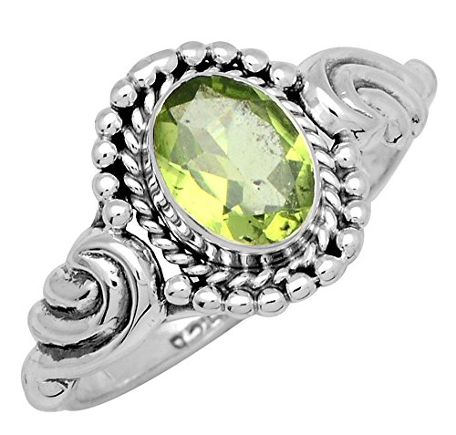 Peridot Kids Ring (Natural Peridot 925 Sterling Silver Rings Silver Jewelry)