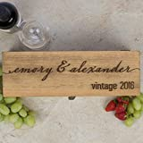 Personalized Engraved Wine Box – First Names and Vintage, Custom Text