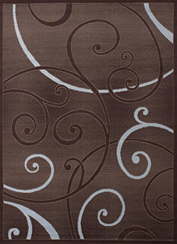 - United Weavers of America Dallas Bangles Rug - 5ft. 3in. x 7ft. 2in, Chocolate Red, Jute Backing Rug with Scrollwork Pattern. Modern Indoor Rugs