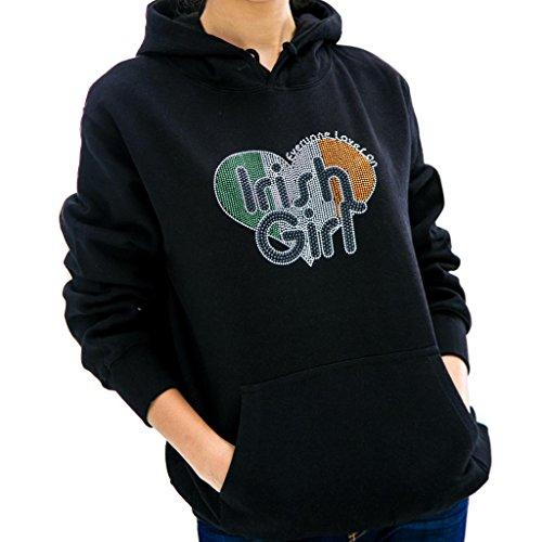 - IRISH GIRL HANDMADE Rhinestone Design Hoodie Sweatshirt