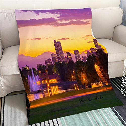 Goose Fountain - Home Digital Printing Thicken Blanket Denver Skyline at Sunset with Fountains Lake Mountains and Geese Perfect for Couch Sofa or Bed Cool Quilt