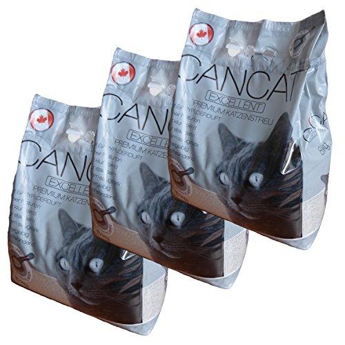 3×8 kg CANCAT Excellent kanadische Premium Katzenstreu Klumpstreu – Babypuderduft innerhalb D (außer Inseln)