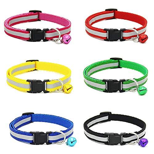 EDLUX 6 Pcs Reflective Cat Collar Bell Breakaway Nylon Cat Collar Safe Durable,Adjustable ()