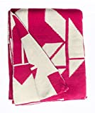 Fab Habitat 100% Cotton Knitted Throw, Blanket - Santa Cruz, Beetroot & White - 50'' x 70''