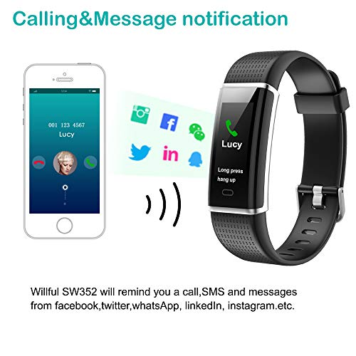 Willful Fitness Tracker, Heart Rate Monitor Fitness Watch Activity Tracker(14 Modes) Pedometer with Step Counter Sleep Monitor Call SMS SNS Notice for Women Men Kids (Black+Black) by Willful (Image #5)