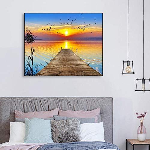 キャンバス書道絵画日の出海ポスターと版画、壁アートワーク写真用リビングルーム寝室ホームデコレーション90×72センチメートル枠なし