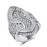 Women's Zircon Ring Copper Plated 925 Silver Vintage Luxury Jewelry (Size : 8)