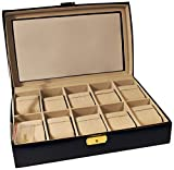 Budd Leather 10-Watch Box with Glass Top, Black