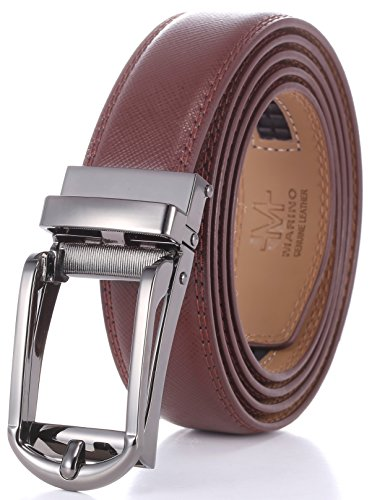 - Marino Men's Genuine Leather Ratchet Dress Belt with Open Linxx Buckle, Enclosed in an Elegant Gift Box - Gunblack Silver Open Buckle W/Brown Design Leather - Custom XL: Up to 54