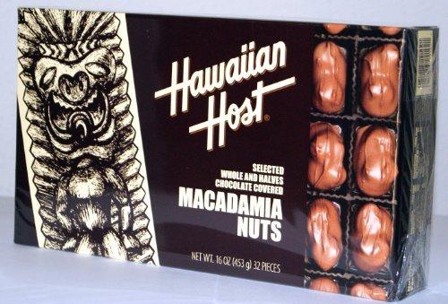 Macademia Nut - Hawaiian Host SELECTED WHOLE AND HALVES CHOCOLATE COVERED MACADAMIA NUTS GIFT BOX NET WT 16 OZ (453 g)