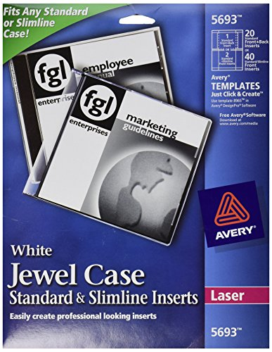 Avery Laser CD/DVD Jewel Case Inserts, Matte White, 20/Pack, PK - (Jewel Case Inserts Pack)
