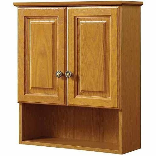 Cabinets Wall Bathroom Oak (Bathroom Medicine Cabinet,Wall mounted, Adjustable Shelves, Solid Wood, Honey Oak)