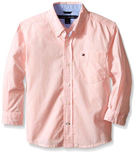 Tommy Hilfiger Little Boys' Long Sleeve Classic Woven, Pink Lemonade, 7 Regular