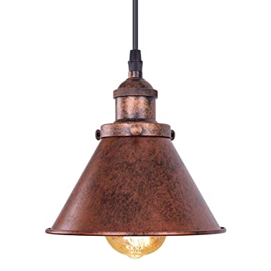 OYI Rustic Pendant Light, Industial Single Light Antique Copper Finished Ceiling Hanging Lighting Fixture with Cone Shade Style 2