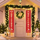 WOWLEO Christmas Door Banner Decorations Outdoor Indoor Welcome Merry Christmas Porch Sign| Red Xmas Decor Banners for Home Wall Door Apartment Party