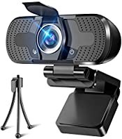 WEBカメラ ウェブカメラ HD1080P 200万画素 三脚/盗撮防止カバー付き 高画質パソコンカメラ ワイドサイズ対応 自動フォーカス 内蔵マイク ウェブカム skype会議用PCカメラ Windows 10/8 / 7 Mac OS...