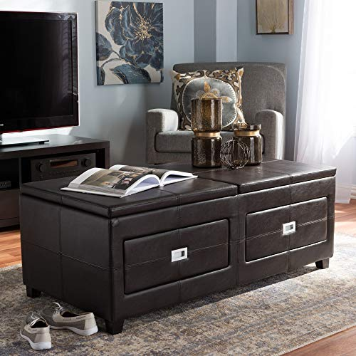 Baxton Studio Wholesale Interiors Indy Modern and Contemporary Functional Lift-Top Cocktail Ottoman Table with Storage Drawers and Tray
