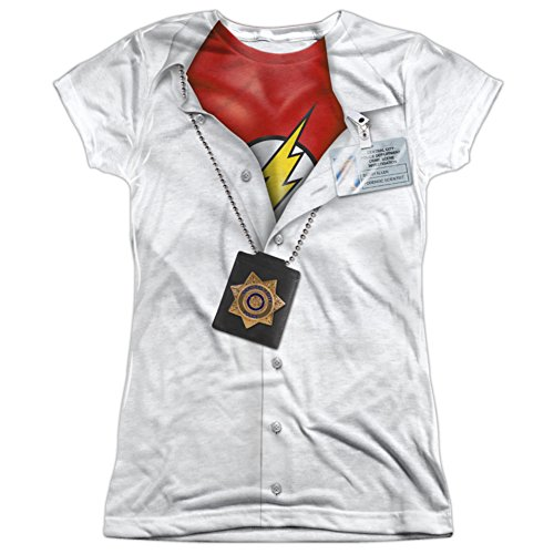 Crimson Bolt Costume (Juniors: The Flash- Secret Identity Costume Tee Juniors (Slim) T-Shirt Size L)