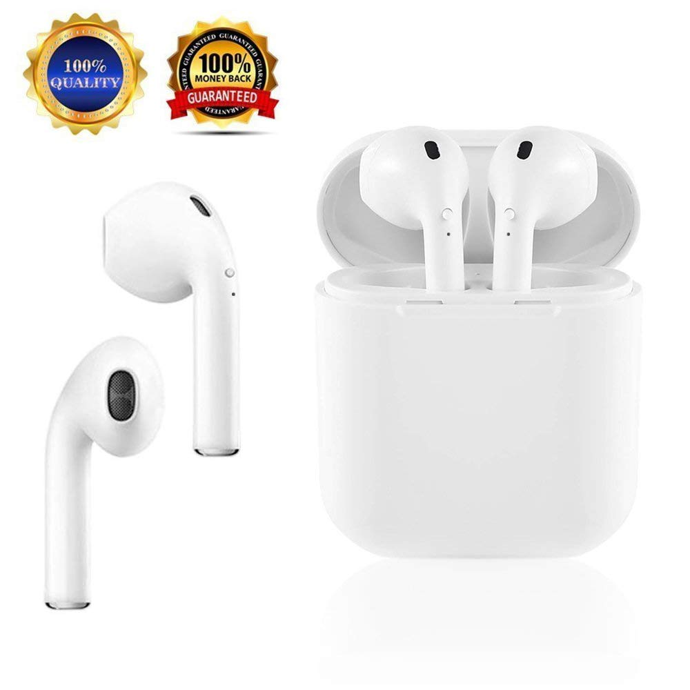 SABURONA Twins Bluetooth Wireless Headphone Earbuds with Built in mic Charging Station Noise Cancellation Crystal Clear Stereo Sound Compatible with iPhone X 8 8plus 7 7plus 6S Samsung S7 S9 Android