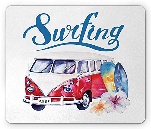 Hibiscus Blue Surfboard - Surfboard Mouse Pad, Beach Holiday Tropical Travel Surfing Time Bus Shell Flower Hibiscus, Standard Size Rectangle Non-Slip Rubber Mousepad, Slate Blue White Red