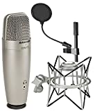 Samson C01U Pro USB Studio Condenser Microphone + Samson SP01 Spider Shockmount + On Stage 4 Inch Pop Filter