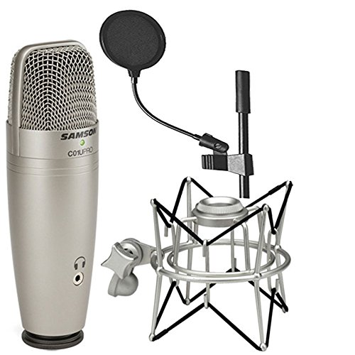 Samson C01U Pro USB Studio Condenser Microphone + Samson SP01 Spider Shockmount + On Stage 4 Inch Pop Filter ()