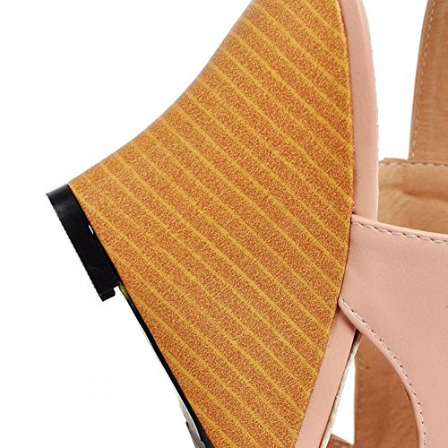 Aisun Womens Stylish Peep Toe Ankle Strap Gladiator Wedge Sandals Pink D3S1pzt