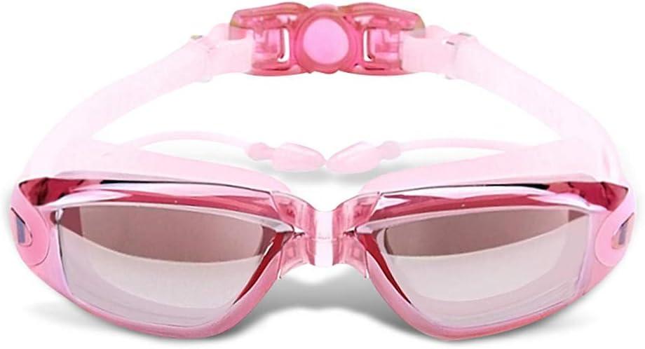 XHSSF Gafas de Natación de Miopía, Gafas Natacion ópticas antivaho Impermeables, Tapones para los oídos en General, Hombres y Mujeres Adultos, dioptrías -2.0 a -8.0 Rosa