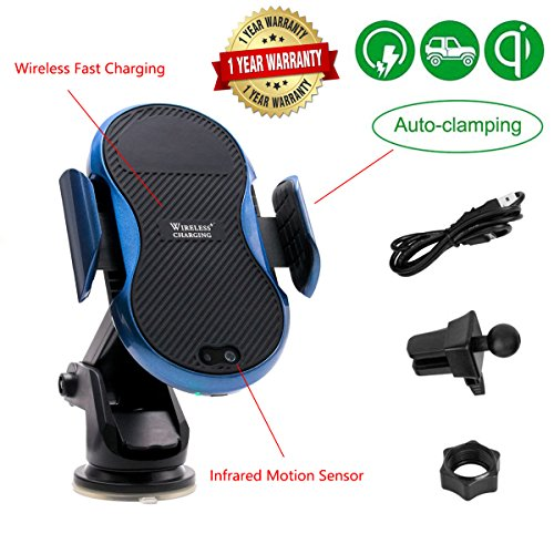 Dashboard Mount Car Wireless Charger with Motion Sensor - Qi Fast Wireless Charging, Vent Phone Holder, (USB Car Adapter Not Included), One Hand Operation for iPhone X 8/8 Plus and Samsung Galaxy by Gorilla Gadgets