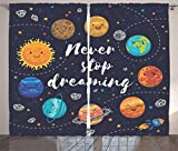 Quotes Decor Curtains by Ambesonne, Cute Outer Space Planets and Star Cluster Solar System Moon and Comets Sun Cosmos Illustration, Living Room Bedroom Decor, 2 Panel Set, 108 W X 84 L Inches, Multi