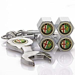 Amazon.com: Alfa Romeo Tire Valve Caps with Bonus Wrench Keychain