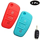 WELLSKEY Red + Azure Silicone Car Key Cases Cover Holder Replacement 3 Buttons For Audi A3 / A4 / A6 / A8 / TT / Q7 / R8 - Pack of 2 pcs
