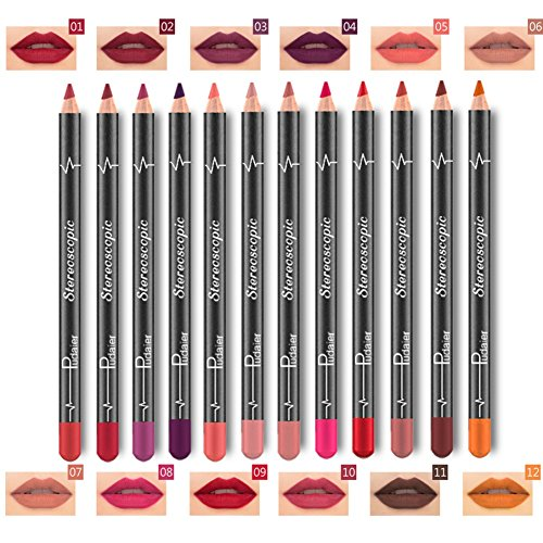 12pcs Lip Liner Shouhengda Matte Velvet Lipstick Waterproof Lip Eye Brow Cosmetic Lip Liner Pens