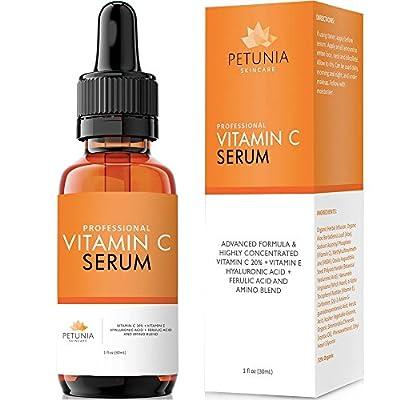Vitamin C Serum (20%) with Hyaluronic Acid, Vitamin E and Ferulic Acid | Anti-Aging Serum with Antioxidants | Dark Spot Corrector Helps Repair Sun Damaged Skin, Reduce Wrinkles | 1 fl. oz.