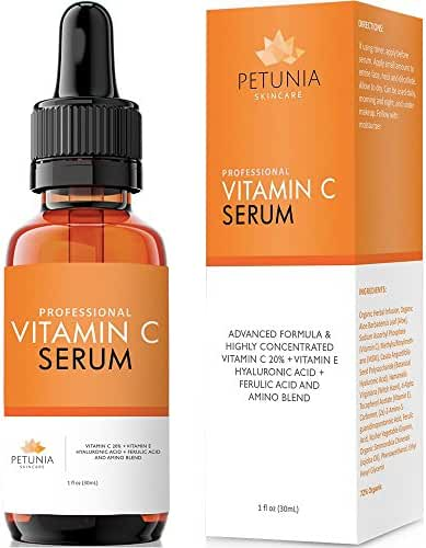 Vitamin C Serum (20%) with Hyaluronic Acid and Ferulic Acid | Anti-Aging Serum with Antioxidants | Dark Spot Corrector Helps Repair Sun Damaged Skin, Reduce Wrinkles and Acne Scars | 1 fl. oz.
